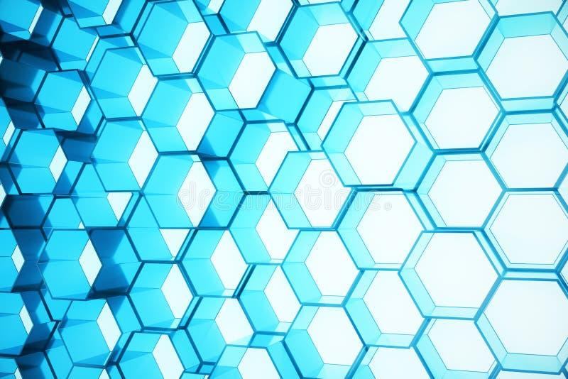 Azul do sumário do teste padrão de superfície futurista do hexágono, favo de mel sextavado com raios claros, rendição 3D ilustração do vetor