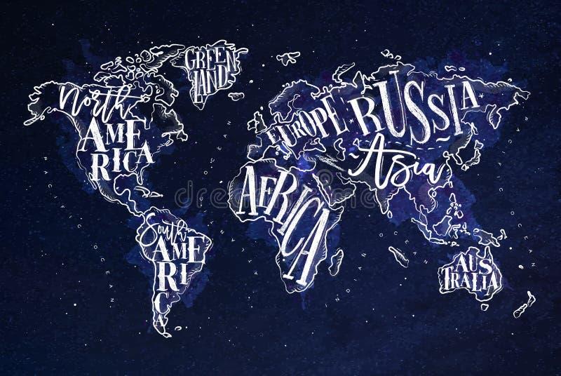 Azul do vintage de Worldmap ilustração do vetor