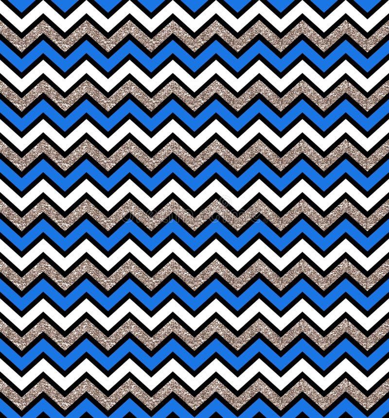 Azul do ziguezague e teste padrão sem emenda de prata do fulgor Fundo geom?trico Imprima o pano, etiqueta, bandeira, cartão, Web  ilustração do vetor