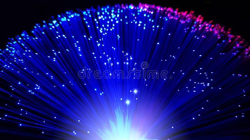 Azul e cabos de fibra ótica coloridos rosa com pontas de brilho fotografia de stock