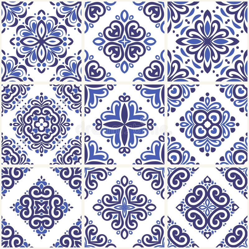 Azul e claro - telhas decorativas azuis dos azulejos Ilustração decorativa do ornamento do vintage ilustração stock