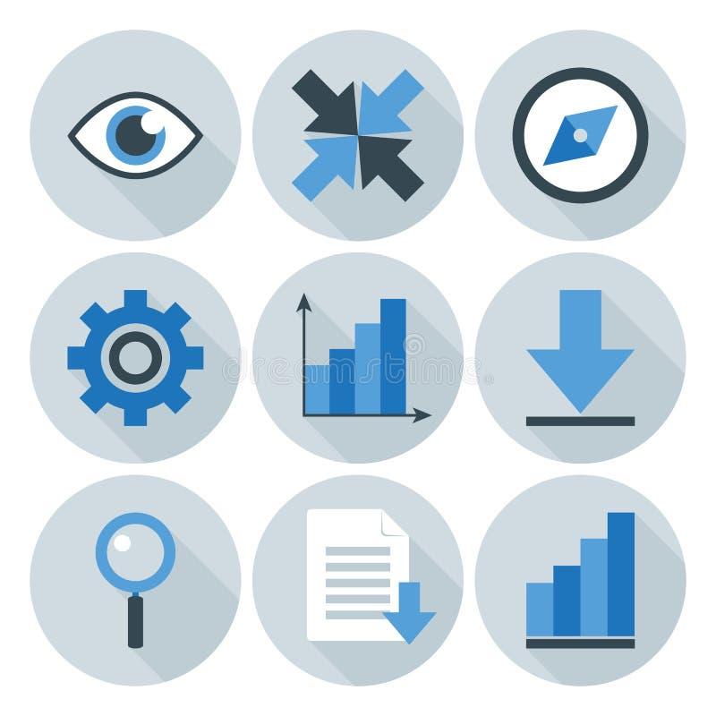 Azul e Grey Business Flat Circle Icons ilustração do vetor