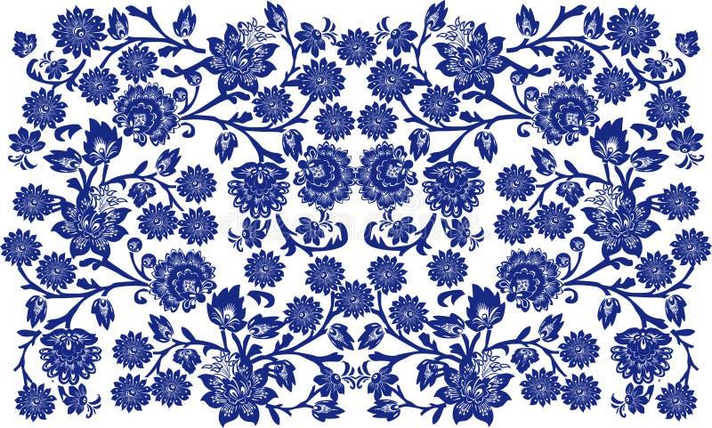 Azul en el fondo floral blanco ilustración del vector