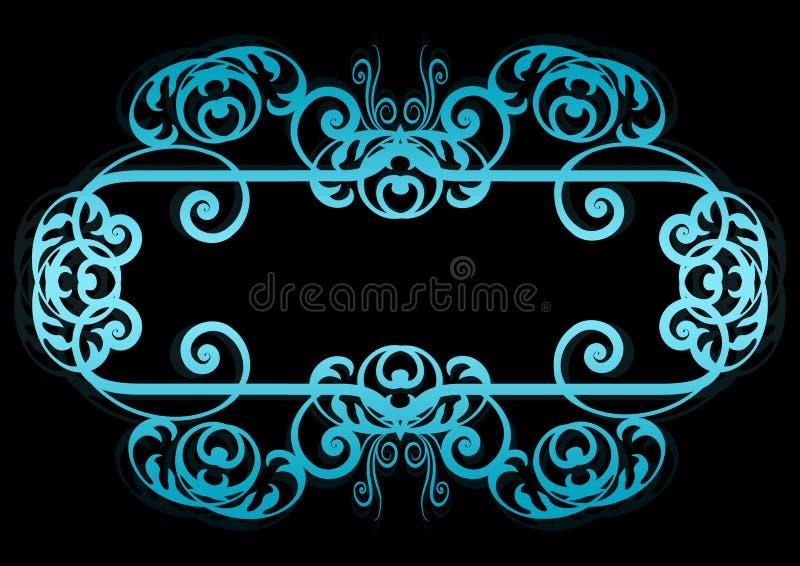 Azul en marco o la frontera espiral negro stock de ilustración
