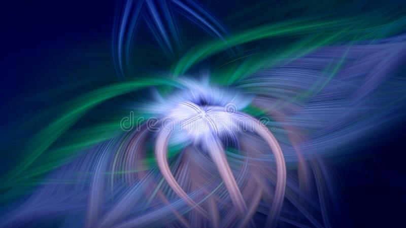 Azul escuro do fundo do fractal da chama fantasia do cosmos ilustração do vetor