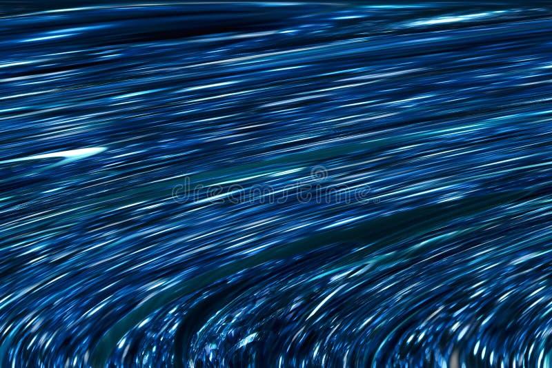 Azul, escuro - grupos azuis, prateados de listras com borrão ilustração do vetor