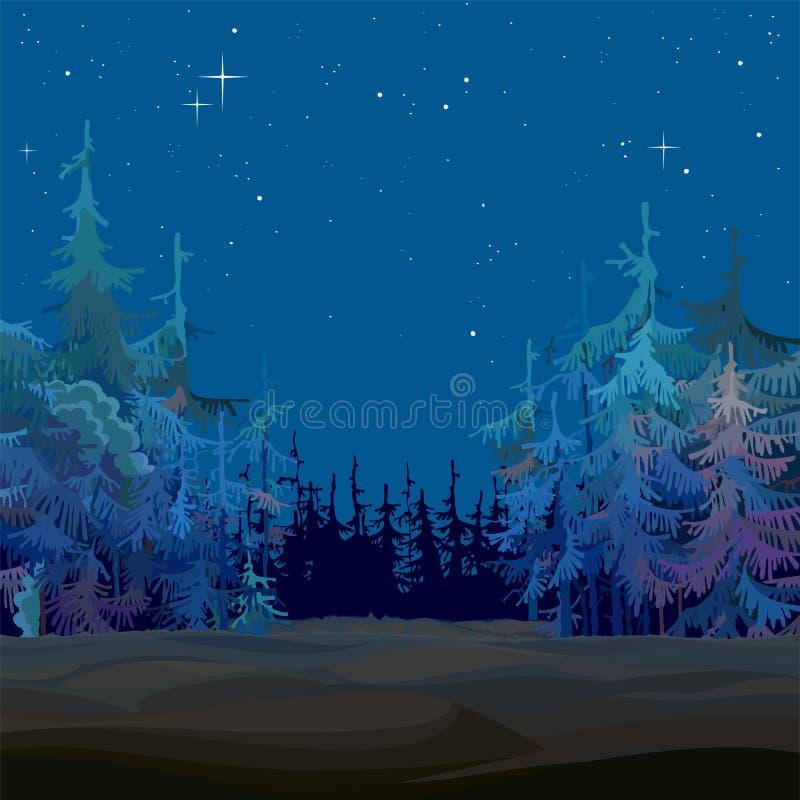 Azul estrellado del bosque del abeto del hada-cuento de la historieta en la noche ilustración del vector