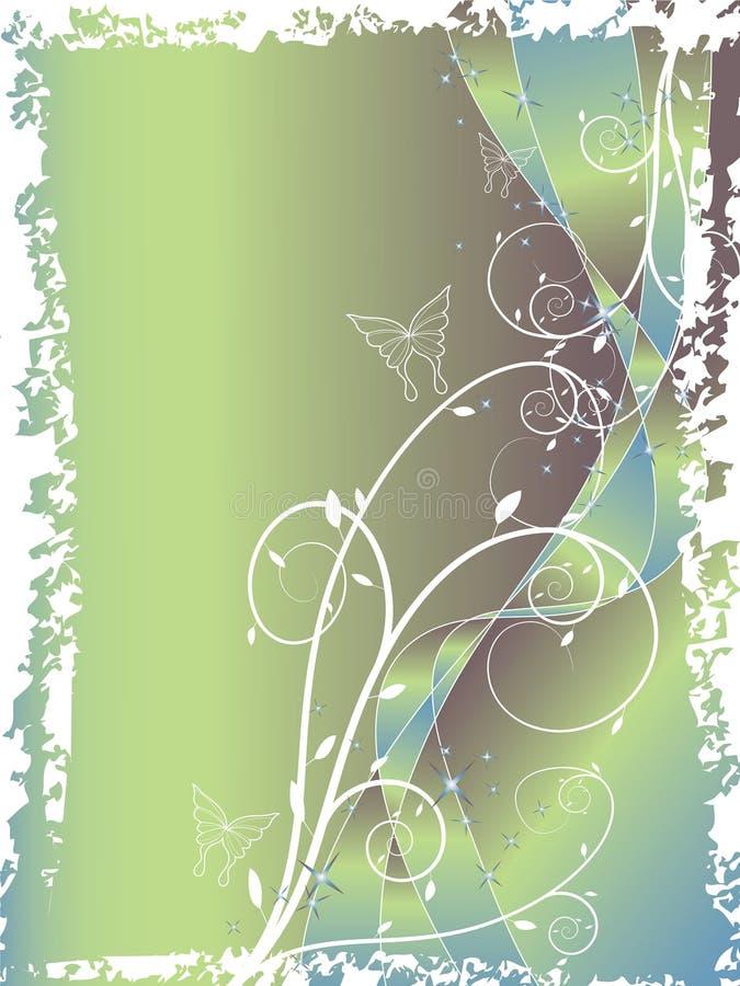 Azul floral abstrato do redemoinho ilustração do vetor