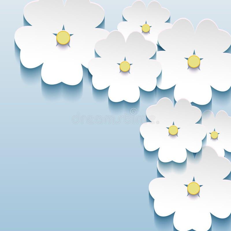 Azul floral abstrato - fundo cinzento com o flo 3d ilustração do vetor