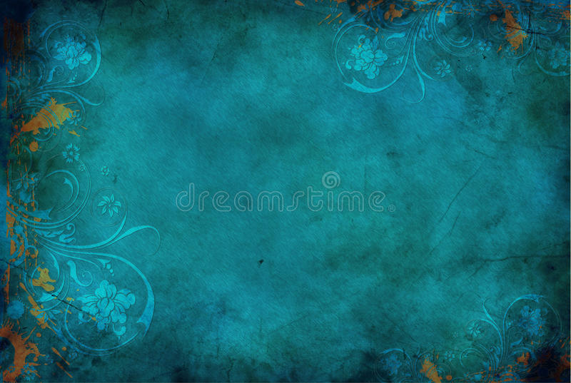 Azul floral do fundo do vintage foto de stock royalty free