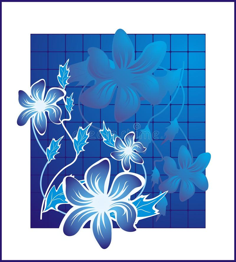 Azul Flower2 ilustração royalty free