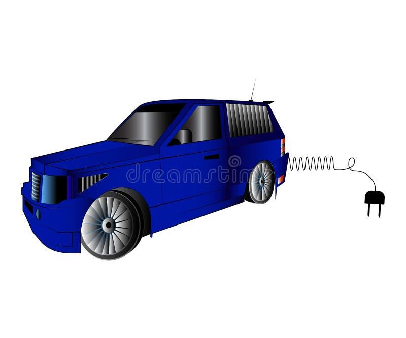Azul fora do carro da estrada com a tomada elétrica para carregar a ilustração automobilístico do vetor ilustração royalty free