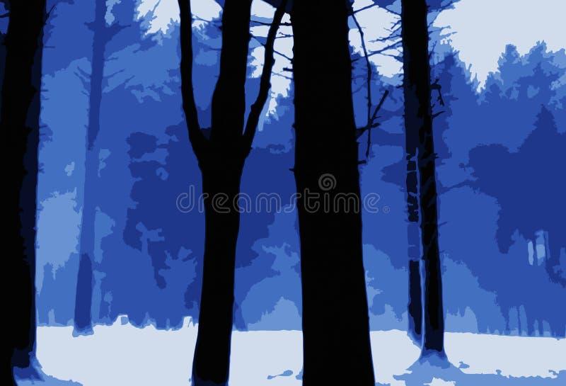 Azul gelado e branco de Forest Scene ilustração do vetor