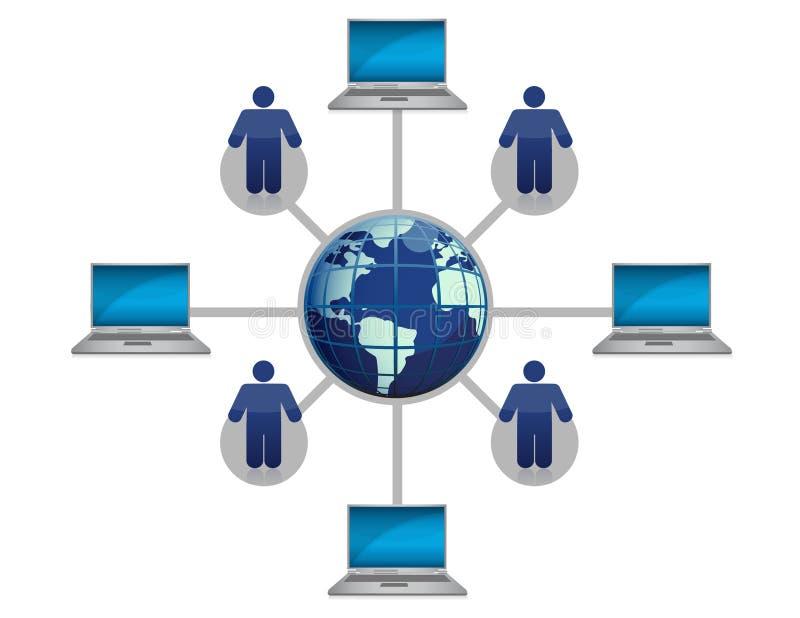Azul global de la red de ordenadores stock de ilustración