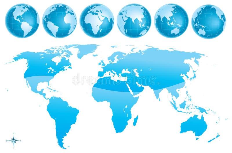 Azul glosy do mapa do mundo ilustração royalty free
