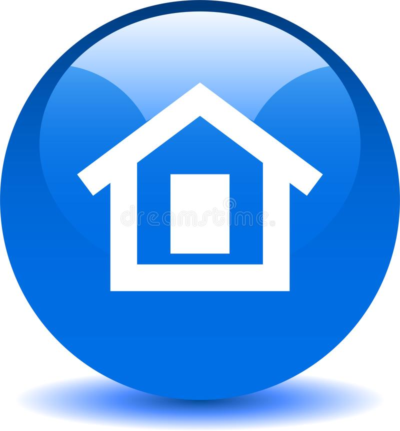 Azul home do ícone da Web do botão ilustração do vetor