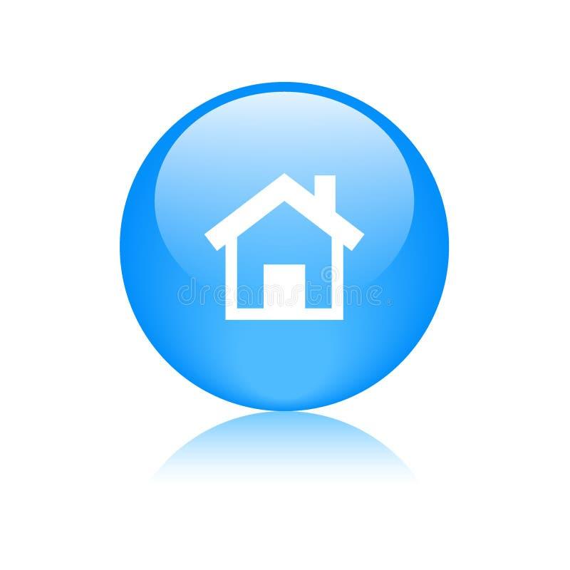 Azul home do botão da Web do ícone ilustração stock
