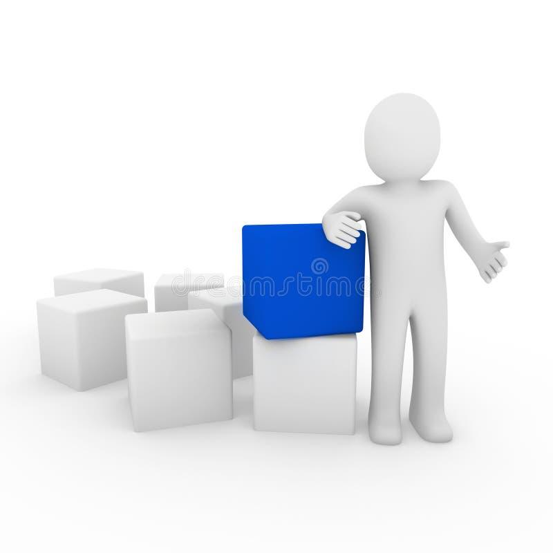 azul humano del cubo 3d ilustración del vector