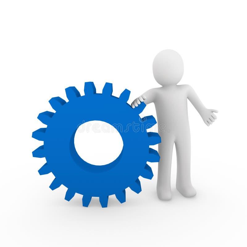 azul humano del engranaje 3d stock de ilustración