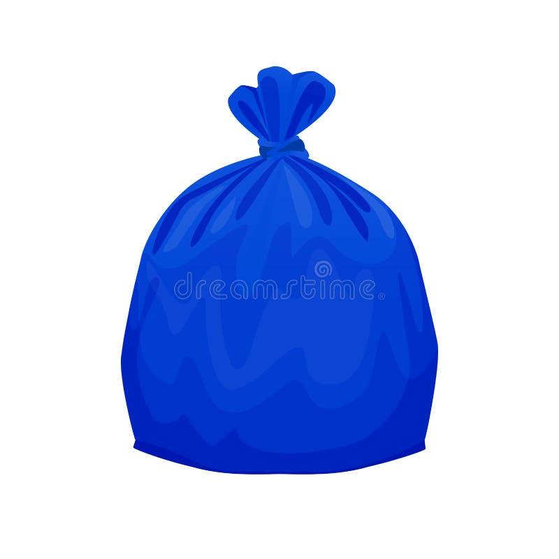 Azul inútil plástico del bolso aislado en el fondo blanco, las bolsas de plástico azules para la separación inútil, la bolsa de p stock de ilustración