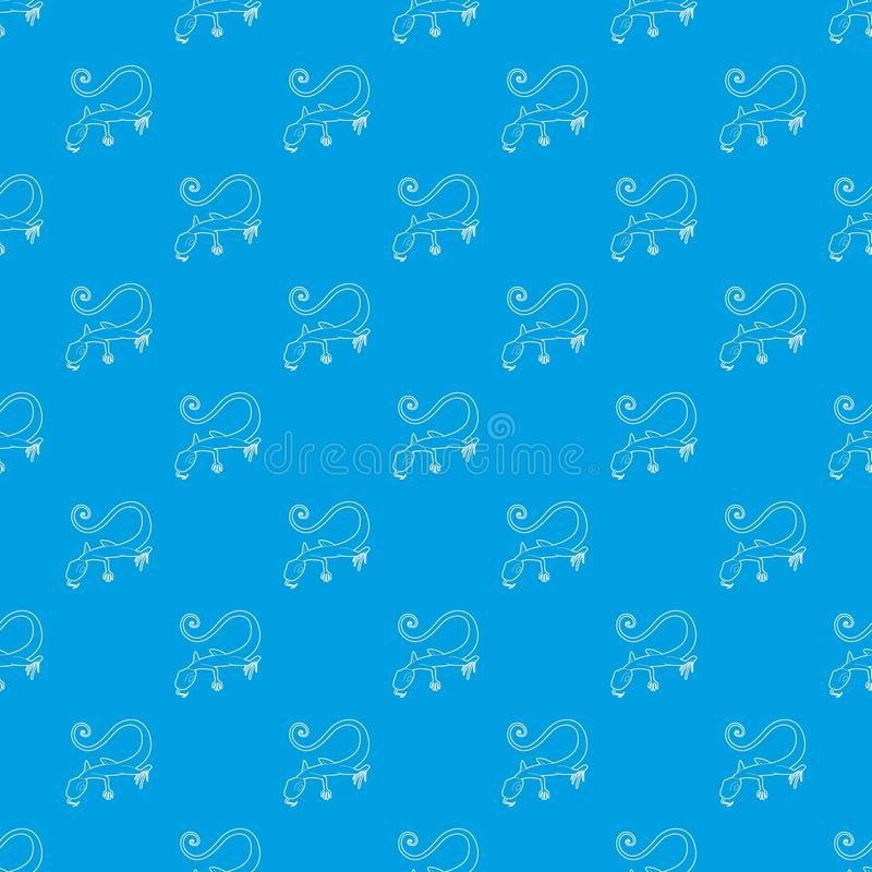 Azul inconsútil del vector del modelo del lagarto stock de ilustración