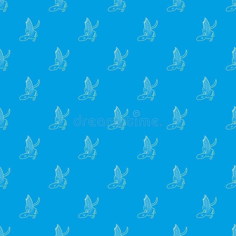Azul inconsútil del vector del modelo del lagarto del dinosaurio stock de ilustración