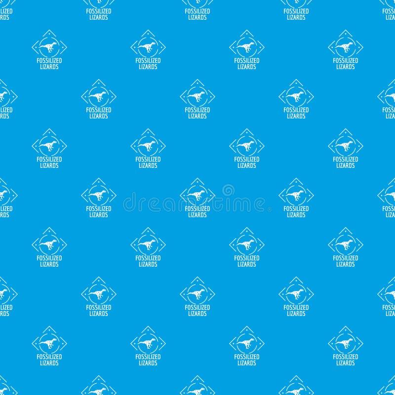 Azul inconsútil fosilizado del vector del modelo del lagarto ilustración del vector
