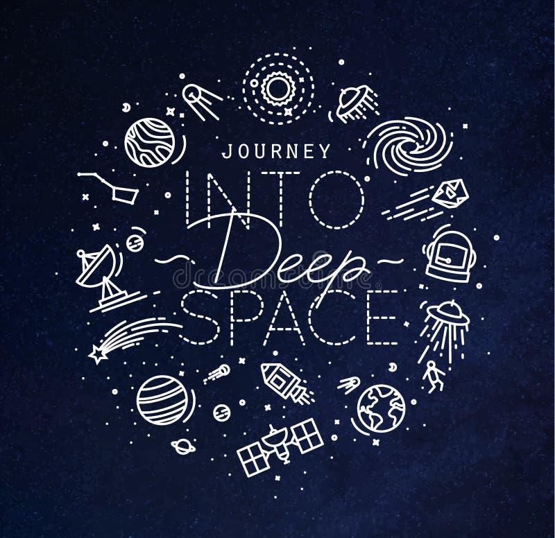 Azul liso do monograma do espaço profundo ilustração stock