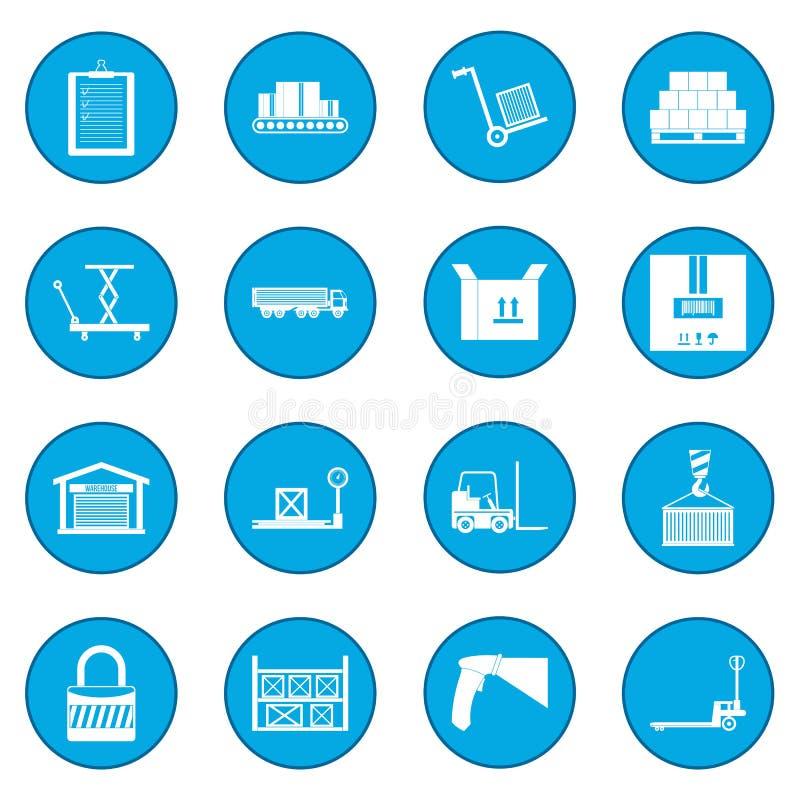Azul logístico del icono del almacenamiento de Warehouse ilustración del vector