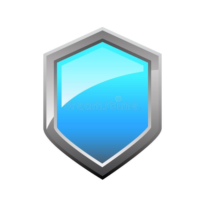 Azul, lustroso, ícone do protetor do vetor/logotipo ilustração stock