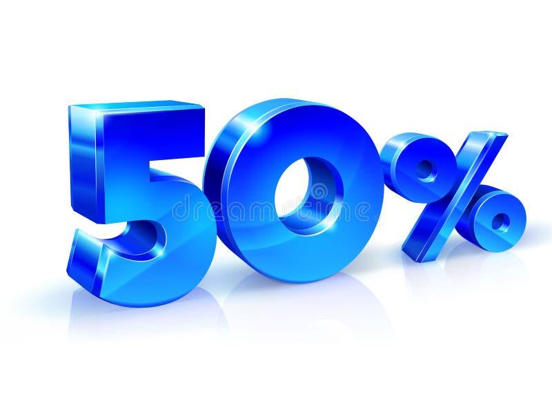 Azul lustroso 50 cinqüênta por cento fora, venda Isolado no fundo branco, objeto 3D ilustração do vetor