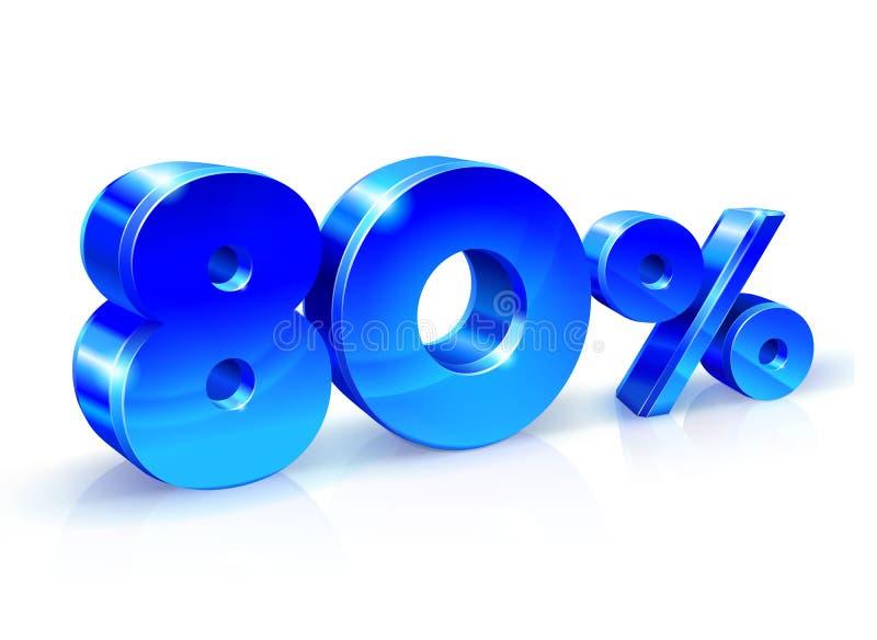 Azul lustroso 80 oitenta por cento fora, venda Isolado no fundo branco, objeto 3D ilustração royalty free