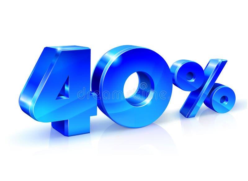 Azul lustroso 40 quarenta por cento fora, venda Isolado no fundo branco, objeto 3D ilustração stock