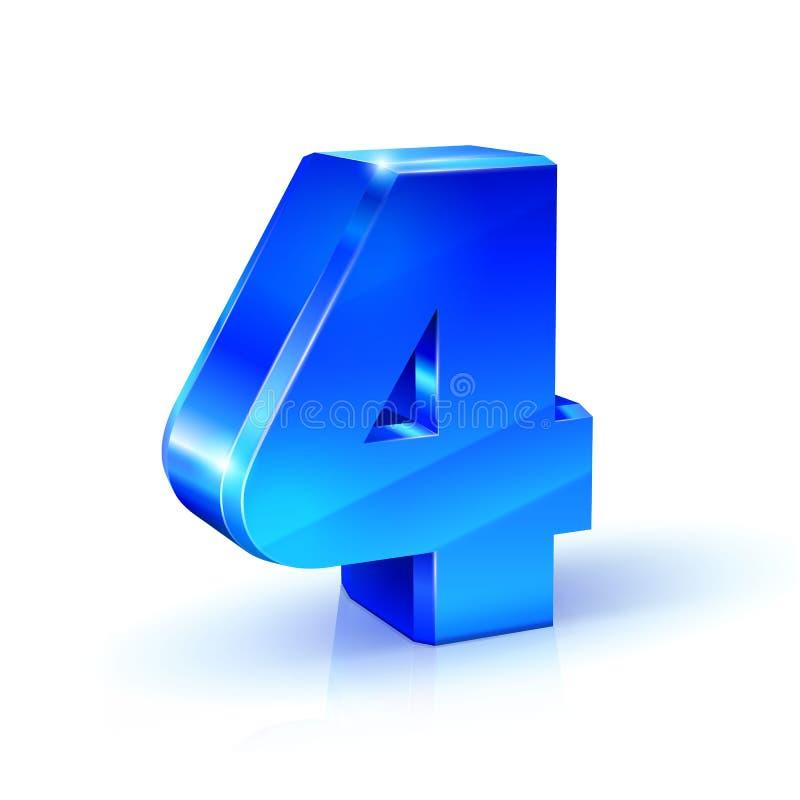 Azul lustroso quatro número 4 ilustração 3d no fundo branco ilustração royalty free