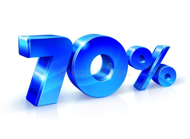 Azul lustroso 70 setenta por cento fora, venda Isolado no fundo branco, objeto 3D ilustração royalty free