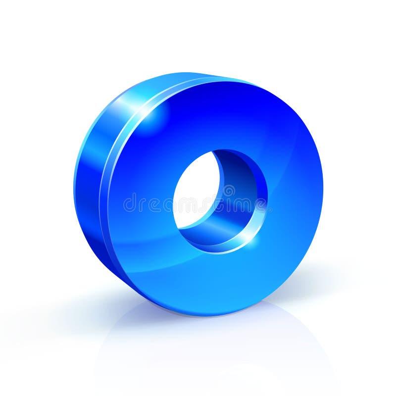 Azul lustroso zero 0 números ilustração 3d no fundo branco ilustração royalty free