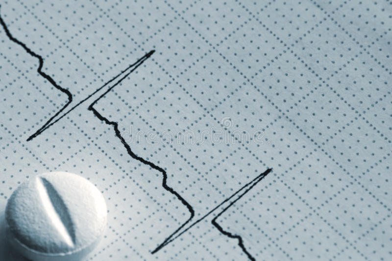 Azul macro do comprimido do close up do gráfico da fita do Cardiogram imagens de stock royalty free