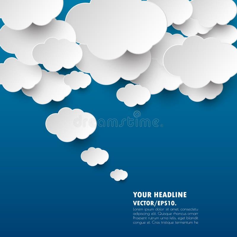 Azul marino con la bandera de la idea de la nube Vector Ilustración stock de ilustración