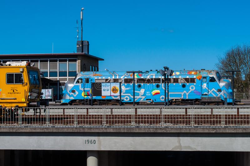 Azul MINHA locomotiva diesel do vintage foto de stock