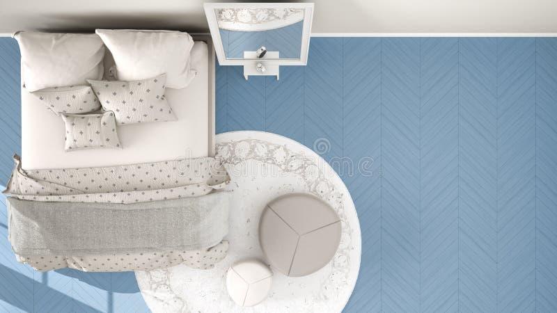 Azul moderno cómodo y dormitorio beige con el piso de entarimado de madera, la alfombra con el taburete y la cama con la manta y  libre illustration