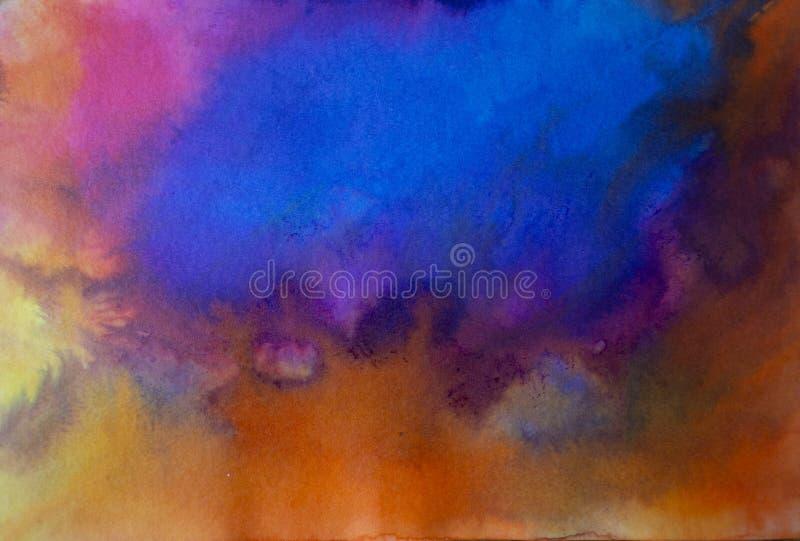 Azul moderno de acrílico del arte contemporáneo del extracto sobre naranja imágenes de archivo libres de regalías