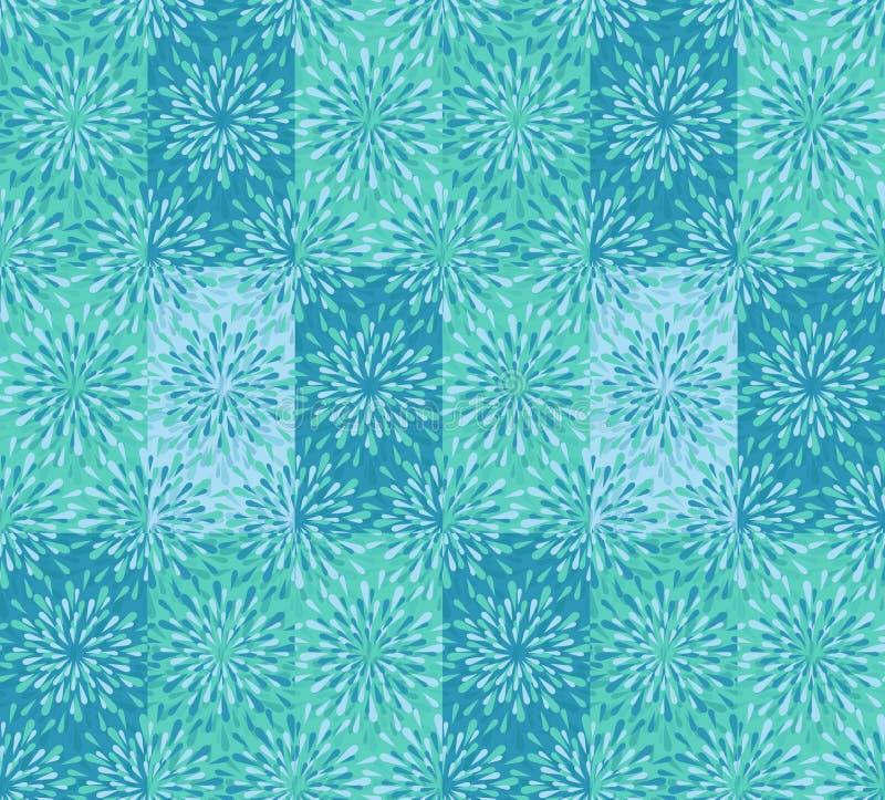Azul moderno de la menta y estampado de flores de repetición verde libre illustration