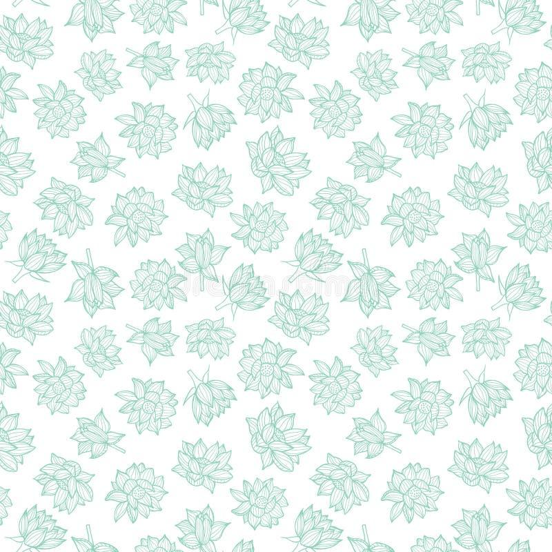 Azul nos waterlilies brancos ou na textura sem emenda do fundo do teste padrão das flores de lótus em um estilo do lineart Vetor ilustração do vetor