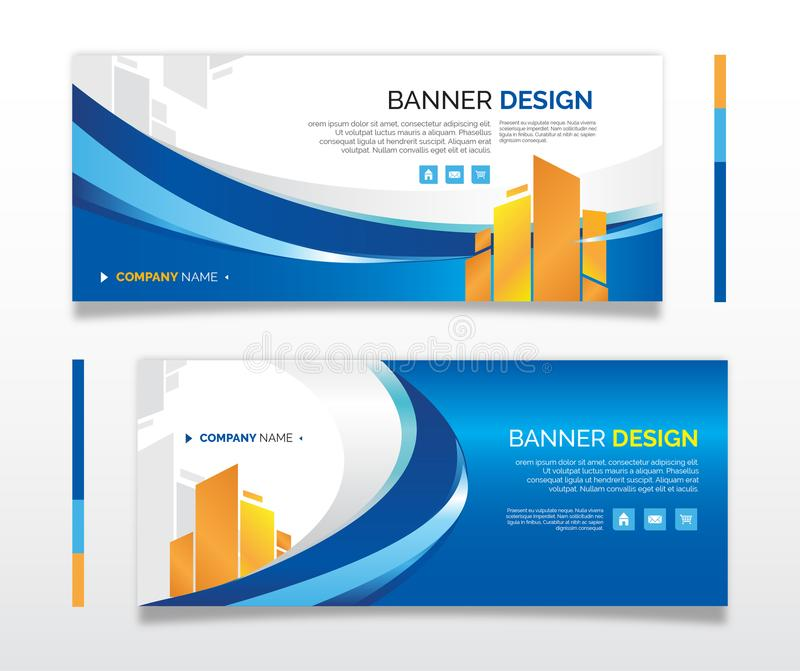 Azul-ouro do negócio do design web da bandeira ilustração royalty free