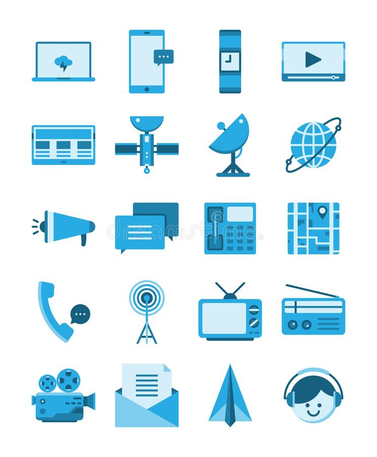 Azul plano del icono de los medios de comunicación, concepto de la tecnología de las telecomunicaciones stock de ilustración
