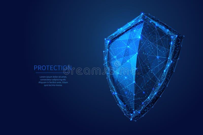 Azul polivinílico bajo del escudo ilustración del vector