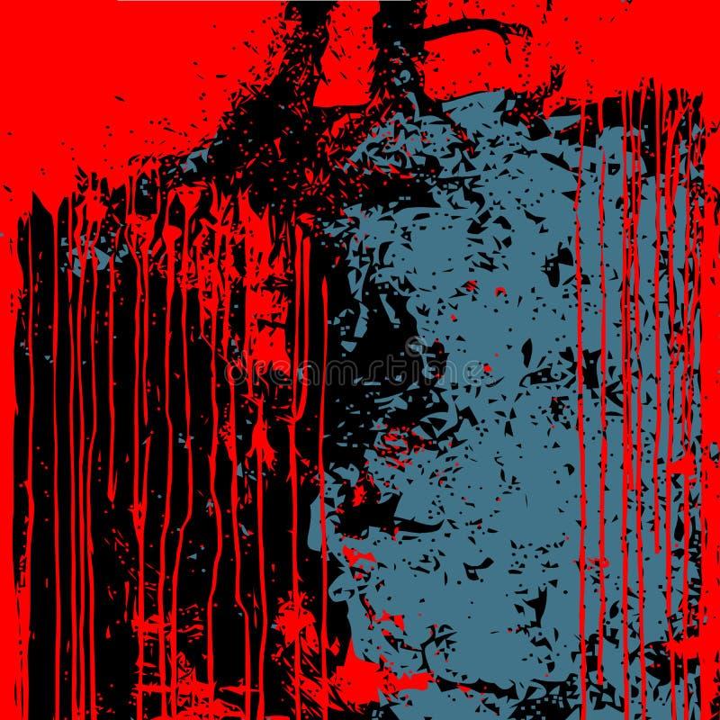 Azul preto vermelho do fundo do Grunge isolado ilustração stock