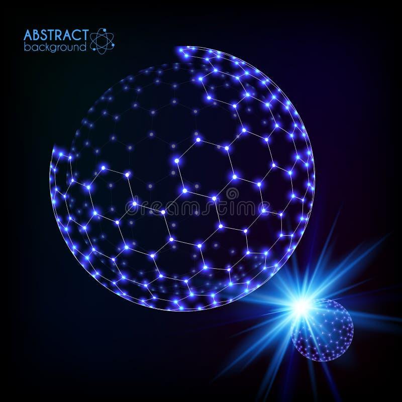 Azul que brilha a esfera de brilho da grade sextavada cósmica ilustração do vetor