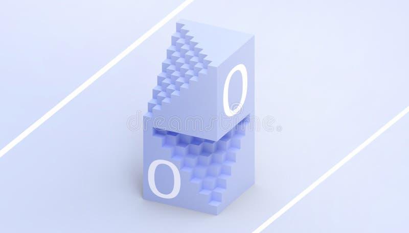Azul rectangular de la caja de las matemáticas y tecnología y un concepto creativo del negocio simple y hermoso en fondo azul ilustración del vector