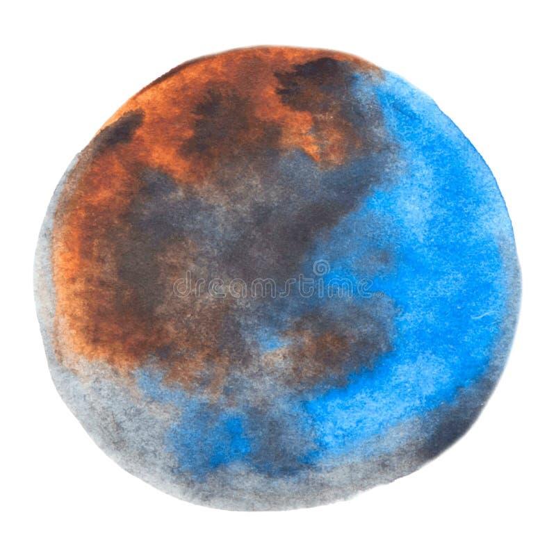 Azul redondo do vetor e textura marrom da pintura da aquarela isolados no branco para seu projeto ilustração do vetor